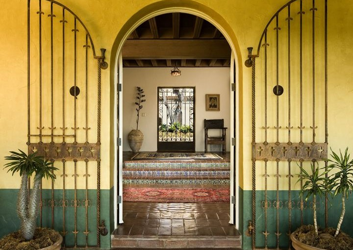 Loggia Entry of Robledal, a George Washington Smith Hope Ranch Estate listed for $15,750,000 - Listed by Thomas C. Schultheis, Broker Associate at Berkshire Hathaway