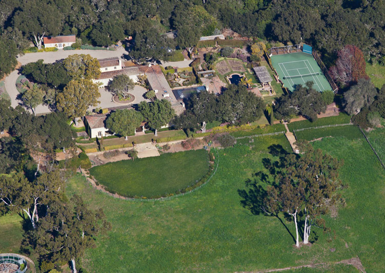 Aerial view of Robledal, a George Washington Smith Hope Ranch Estate listed for $15,750,000 - Listed by Thomas C. Schultheis, Broker Associate at Berkshire Hathaway