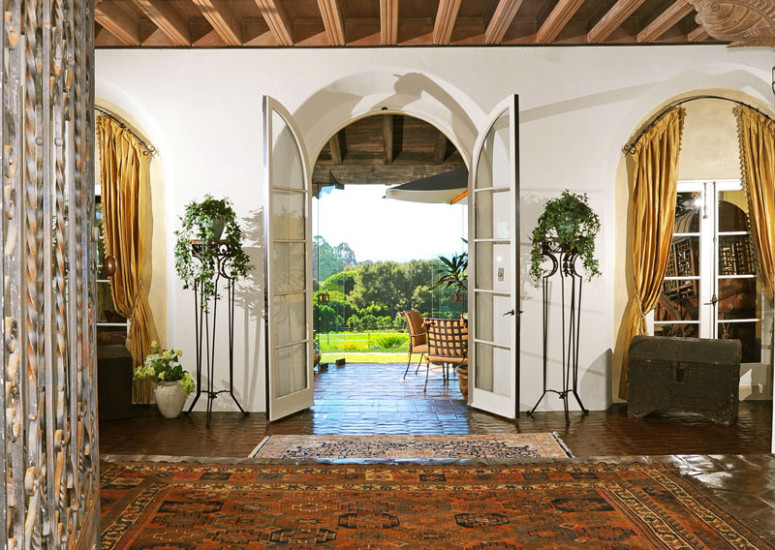 Entry Hall of Robledal, a George Washington Smith Hope Ranch Estate listed for $15,750,000 - Listed by Thomas C. Schultheis, Broker Associate at Berkshire Hathaway