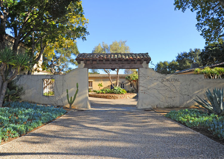 Courtyard Entry of Robledal, a George Washington Smith Hope Ranch Estate listed for $15,750,000 - Listed by Thomas C. Schultheis, Broker Associate at Berkshire Hathaway