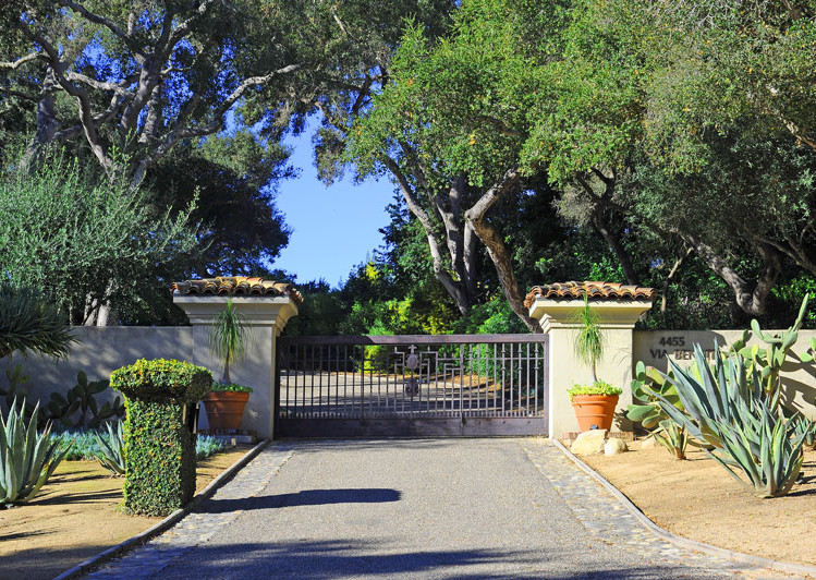 Entry Gate of Robledal, a George Washington Smith Hope Ranch Estate listed for $15,750,000 - Listed by Thomas C. Schultheis, Broker Associate at Berkshire Hathaway