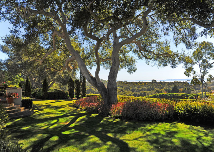 Grounds view of Robledal, a George Washington Smith Hope Ranch Estate listed for $15,750,000 - Listed by Thomas C. Schultheis, Broker Associate at Berkshire Hathaway