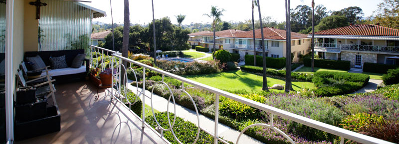 Balcony view of 2621 State St. 4 in Villa Constance North in Santa Barbara listed for $669,000 by Thomas C. Schultheis, Broker Associate at Berkshire Hathaway