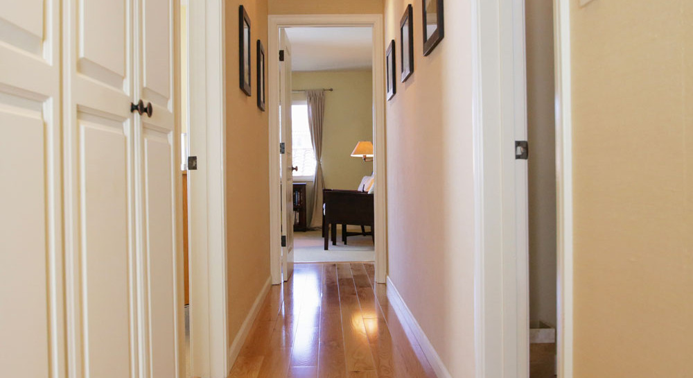 Hallway of 2621 State St. 4 in Villa Constance North in Santa Barbara listed for $669,000 by Thomas C. Schultheis, Broker Associate at Berkshire Hathaway