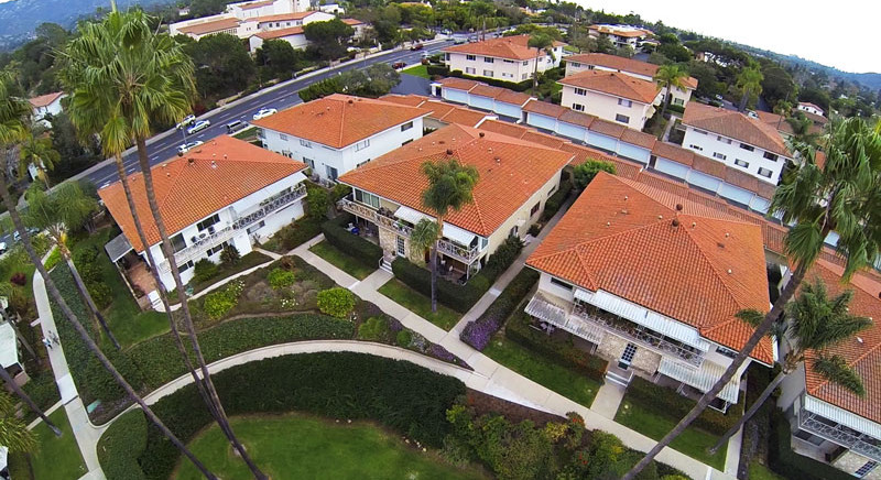 Aerial view of 2621 State St. 4 in Villa Constance North in Santa Barbara listed for $669,000 by Thomas C. Schultheis, Broker Associate at Berkshire Hathaway