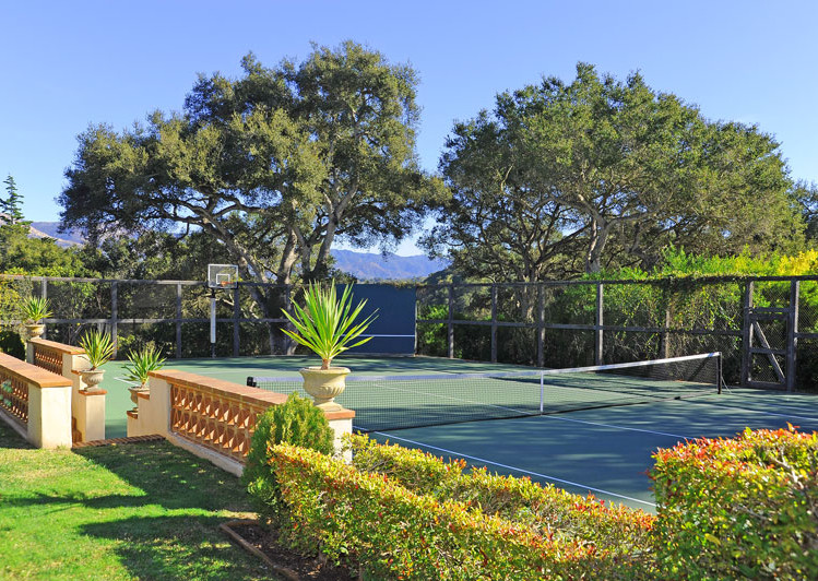 Tennis Court of Robledal, a George Washington Smith Hope Ranch Estate listed for $15,750,000 - Listed by Thomas C. Schultheis, Broker Associate at Berkshire Hathaway